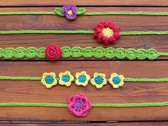 Crochet Flower Headband Pattern - Have fun with these beautiful flowers! Each headband ties in the back so it will fit any head size, from infant to adult.