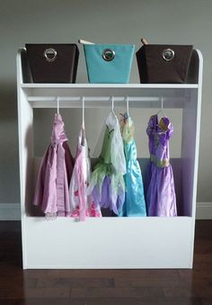 hanging storage for kids dress up clothes - can also be puppet theater