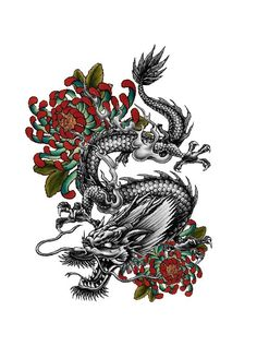 Japanese tattoo dragon design made by me