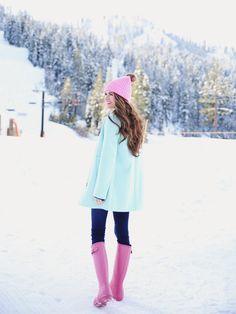 New pink rain boats outfit winter skinny jeans 27 Ideas Winter Outfits, Summer Outfits, Cute Outfits, Winter Wear, Autumn Winter Fashion, Winter Style, Pink Rain Boots, Snow Boots, Winter Pastels