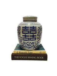 Exquisite Vintage Ginger Jar Cobalt Blue & White by studio180