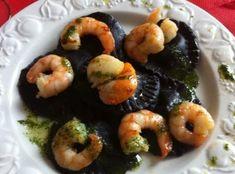 Ziggy in the kitchen: Ravioli di bufala al nero di seppia con gamberi e capesante grigliate