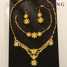xuping costume dubai 24K gold plated flower women wedding bridal jewelry set