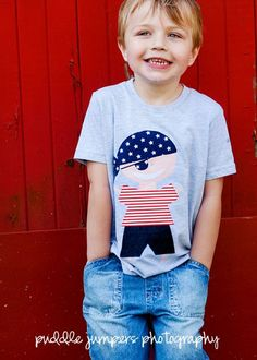 Red, White, & Blue My Best Friend Pirate Boys T-Shirt by My Own Threads Clothing