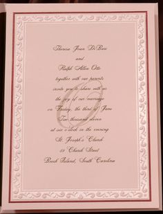 This petal invitation card is stunning with a simple, yet elegant mocha foil border with a pearl foil design. It is shown here with the screened initial option. Matching petal envelopes are included.