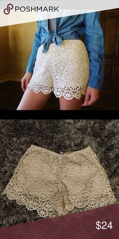 Flower lace shorts These lace shorts have a flower pattern that extends past the shift fabric down your thigh. Shorts