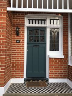 Front door: farrow and ball / inchyra blue / front door Front Door Porch, Grey Front Doors, Front Door Entrance, House Front Door, House Doors, Front Porches, Best Exterior Paint, Exterior Paint Colors For House, Exterior Doors