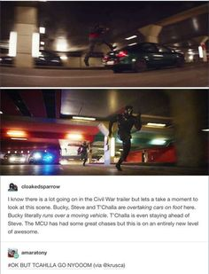 Captain America: Civil War – on the run, with Black Panther after Bucky with Cap trailing, all running faster than the traffic around them Avengers Memes, Marvel Jokes, Marvel Funny, Marvel Dc Comics, Marvel Heroes, Marvel Avengers, Loki, Captain America Civil War, Dc Memes