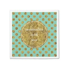 Chic Gold Glam and Mint Dots paper napkins