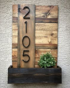 Had to take a break from cleaning today and finish up my fun project I started a few days ago! I'm so in love with this thing! Swipe to… Modern Front Door, Front Entry, Restore Wood, Small Front Porches, Pallet Designs, Backyard Patio Designs, Pallet Creations, Home Upgrades, House Numbers