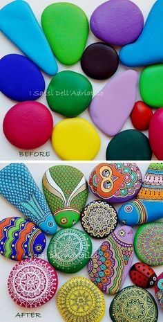 DIY rocks painting before and after wow!                                                                                                                                                                                 More