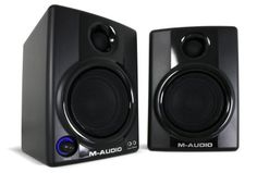 M-Audio Studiophile AV 30 Compact Desktop Monitor Speakers - Upgrade your computer speakers for an affordable price. With wooden cabinets and bass ports, these self-powered monitors deliver deep lows and crisp highs.
