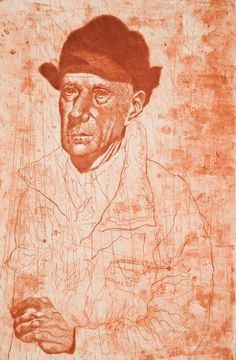 """""""Self Portrait in Vermont."""" Etching, 18 x 12 in. Graphic Artwork, Art, Painting"""