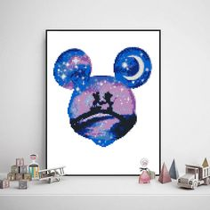 Excited to share the latest addition to my #etsy shop: Mickey mouse cross stitch mini mouse baby girl baby boy disney love moon starry night galaxy - Cross Stitch Pattern (Digital Format - PDF) https://etsy.me/2qUDwVm