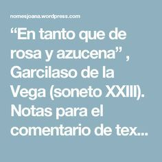 """""""En tanto que de rosa y azucena"""" , Garcilaso de la Vega (soneto XXIII). Notas para el comentario de texto – Rosas de cada día"""