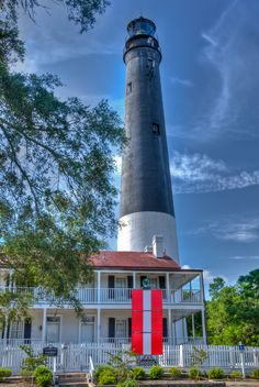 Pensacola lighthouse. My family and I climbed all the way to the top today. There was a guy up there who actually lived in the lighthouse a while ago and he told us all about it! So fun!