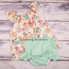 Vintage Bicycles Flutter Top and Ruffle Diaper Cover Set- by Charming Necessities Baby Girl Clothes, Baby Shower Gift, Come Home Outfit