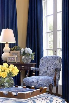 Blue and White Design Inspirations! Landscaping colors: whites and yellows with new navy trim