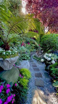 Back Gardens, Outdoor Gardens, Tropical Garden Design, Garden Yard Ideas, Garden Path, Backyard Landscaping, Natural Landscaping, Shade Garden, Dream Garden