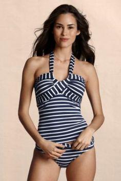 Women's Stripe Twist Halter Tankini Swimsuit Top  from Lands' End Canvas