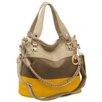 MG Collection ECE Yellow Caramel Tri-tone Hobo Handbag w/ Shoulder Chain $39.99 #MGCollection