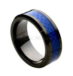 "Ceramic Ring ""FREE ENGRAVING"" Wedding Blue Carbon Fiber Band MMCR244 8mm Black Ceramic Engagement Ri on Luulla"