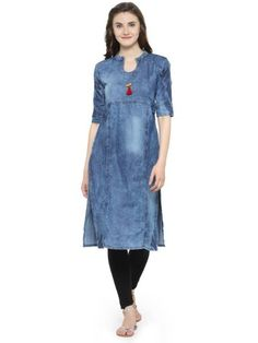 V's Fashion Point Denim Kurtis,Tops for Women Frock Style Kurti, Jacket Style Kurti, Kurti With Jacket, Kaftan Style, Denim Kurti Designs, Cold Shoulder Kurti, Floor Length Kurti, Kurtis Tops, A Line Kurti