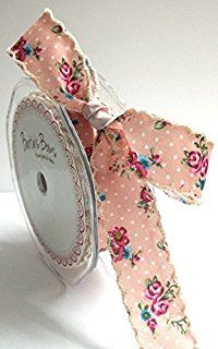 Bertie's Bows Vintage Pink Floral Polka Dot Print Ribbon Ivory Lace Edge 25mm by the metre (NB this is cut on the roll)