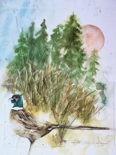 Vintage Expressionist Watercolor Painting Bird Woods Signed Pat Seale #Expressionism