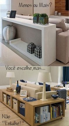 Cambie todo en Vea cómo usar accesorios y objetos . Living Room Interior, Home Living Room, Home Interior Design, Living Room Designs, Living Room Decor, Diy Furniture Table, Home Furniture, Furniture Design, Sofa Table Decor