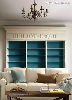 """We've seen plenty of examples of how words can add silliness to a space; here's a textual detail that is anything but. Stately enough to adorn the most prestigious academic libraries, the French word for """"library"""" instead graces the still-to-be-filled bookshelves of this Parisian home."""