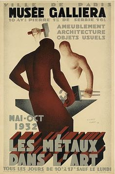 Poster by Pierre Fabre, 1932, Musée Galliera, Les métaux dans l'art.
