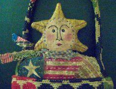 "Patriotic Folk Art-""FOR LOVE of COUNTRY""-Original Americana Primitive Folk Art Design from Vintage Quilt & 1800's Antique Coverlet"
