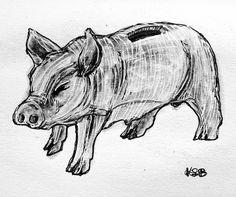 🔔#breakable #pig #moneybox #inktober2018 #inktober Money Box, Inktober, Insta Art, Moose Art, Artist, Animals, Animales, Animaux, Artists