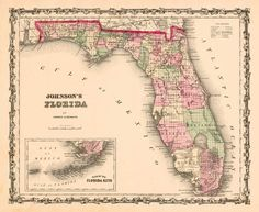 Reproduction of an 1861 Map of Florida by Alvin J. Johnson.  Florida during Confederate period.  capitol never captured during Civil War.