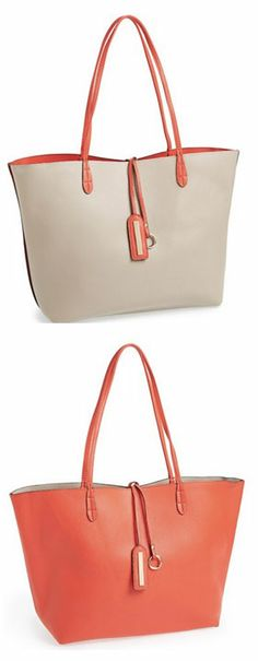 Love this reversible bag in coral & cream http://rstyle.me/n/jv869nyg6