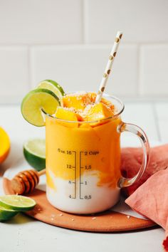 CREAMY Mango Lassi Smoothie! 5 ingredients, 5 minutes, SO delicious! #mango #smoothie #plantbased #glutenfree #recipe #minimalistbaker Baker Recipes, Kitchen Recipes, Vegan Recipes, Snack Recipes, Cooking Recipes, Mango Smoothie Recipes, Smoothie Drinks, Vegan Smoothies, Sin Gluten