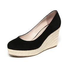 Zapatos Cuñas Cerrados Tipo de tacón Ante Zapatos Cerrados Mujer c446e3882c7c