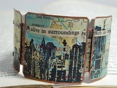 City bracelet inspirational quote cityscape mixed media jewelry