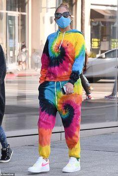 Jennifer Lopez owns the rainbow in Ralph Lauren tie-dye sweats as she grabs lunch in Beverly Hills | Daily Mail Online
