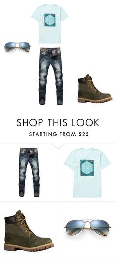 """Guy Outfit 4"" by agirl13-1 ❤ liked on Polyvore featuring Billabong, Timberland, Ray-Ban, men's fashion and menswear"