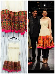 Get this beautiful ivory dress inspired by Manish Malhotra's phulkari suit worn by Karishma. Colorblock embroidery and sheer neckline is just too chic to resist. Kaamdani.com