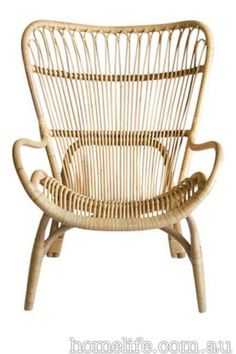 Highback Chair With Rattan Pole