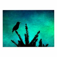 KESS InHouse Sylvia Coomes 'Bird SILHOUETTE' Teal Black Dog Place Mat, 13' x 18' *** Remarkable product available now. : Dog food container