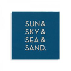 """This is a simple typography style carved wooden board. The text reads """"Sun & Sky & Sea & Sand"""". This product has a painted plywood front and a pine frame on the back. Lanai Design, Sky Sea, Winning The Lottery, Quote Board, House Art, Wood Ideas, Jelly Beans, Positive Life, Coastal Living"""