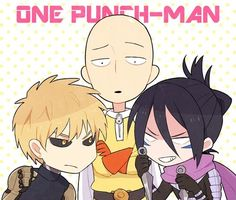 Genos, Sonic, Saitama, text; One Punch Man