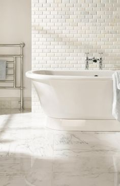 Beautiful white Viano marble tiles, available in bevel bricks, flat bricks, mosaics and large format tiles, by originalstyle.com.