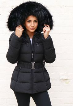 Harper Luxe Quilted Longline Hooded Puffer Coat with Faux Fur Trim & Belt in Black Silver Puffer Jacket, Puffer Jacket With Fur, Black Puffer, Puffer Jackets, Fur Jacket, Winter Puffer Coats, Coat With Fur Hood, Black Parka, Winter Coat