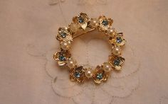 Vintage Blue Stone with PearlsCircle Pin by frenchhen1 on Etsy, $7.50