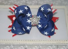 4th of July Pony O, 4th of July Pigtail Holders, Patriotic Baby Headband, Red, White and Blue Hair Bow, 4th of July Hair Bow